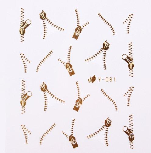 Autocollant décoratif pour ongles Motif fermeture éclair Doré métallique