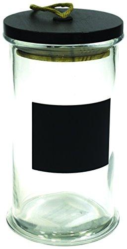 Saveur et Degustation KA1349 Bocal + Corde Verre/Bois Noir/Argent 12,2 x 12,2 x 23 cm