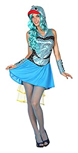 Atosa- Disfraz mujer pez, Color azul, XS-S (15485)