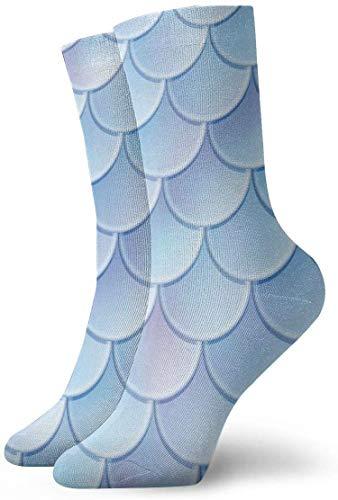REordernow Kurze Socken Blue Mermaid Scales Pattern Adult Short Socks Cotton Fun Socks for Mens Womens Yoga Hiking Cycling Running Soccer Sports -