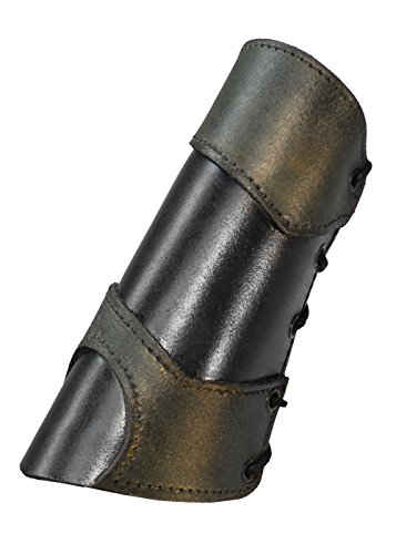 1 Paar Leder Armschienen Warrior Schwarz/Braun oder Schwarz/Grün Größe S, M oder L Armschoner LARP Mittelalter Schaukampf Wikinger (Schwarz/Grün, (Kostüm Armschienen)