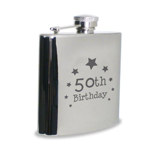 Kiddiewinkle Gifts Petaca de Acero Inoxidable, diseño de 50 cumpleaños, hipflasta, para Hombres, Regalo de cumpleaños
