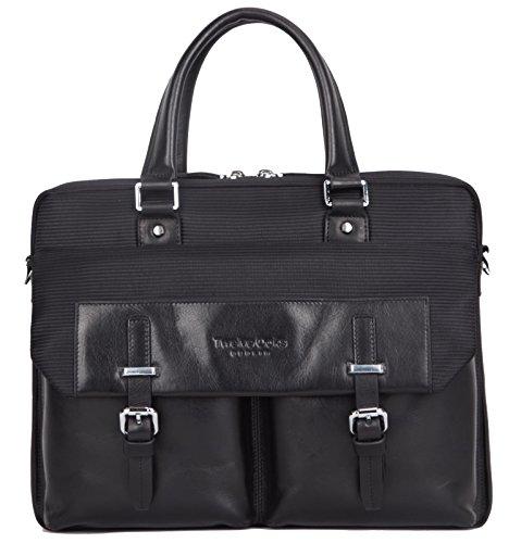 TwelveOaks Premium Business-Tasche, Elegante Leder-Nylon Kombination (Schwarz / Schwarz) in hochwertiger Verarbeitung / Qualität