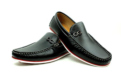 Herren Freizeit Fashion Slipper Zum Reinschlüpfen Smart Fahren Designer Schuhe Mokassins schwarz oder weiß Größen Schwarz