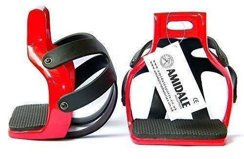 AMIDALE Aluminio Resistente Flex Circulación Enjaulado Seguridad Caballo Estribos - Rojo, 4.00