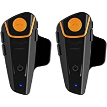 qaurora BT-S2 1000 M Bluetooth Headset impermeable BT moto moto casco intercomunicador Interphone móvil para 2 o 3 jinetes y 2,5 mm de audio para Walkie Talkie GPS Manos libres reproductor de mp3 fm radio (1 unidades)