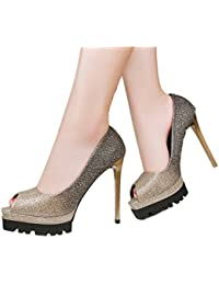 Xianshu Damen Strass Streifen Steigung Farbe Flachen Mund Spitz flache Schuhe(Schwarz-42) U4QjZ