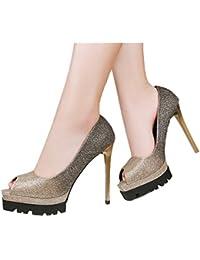 Xianshu Damen Strass Streifen Steigung Farbe Flachen Mund Spitz flache Schuhe(Schwarz-42)
