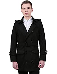 Sourcingmap Allegra K Men Button-Tab Epaulets Slim Fit Double Breasted Belted Worsted Coat