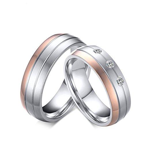 Beydodo 2 Hochzeitsring Edelstahl Damen Herren Matte mit -