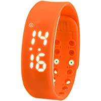 Smart Bracciale Orologio elettronico orologio passo temperature-time Display multifunzione intelligente Meter, Orange - Acciaio Arancione Dial