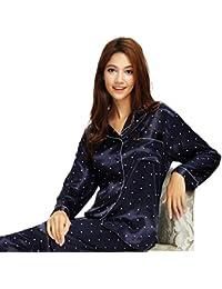 487d11aa10665 Damen Seide Pyjama Set Schlafanzug Sleepwear Homewear XS~3XL Plus-Größe