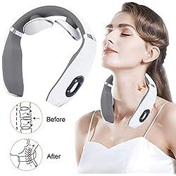 Masseur Cervical, Appareil de Massage Électrique, Masseur de nuque portable, Massage par Impulsions Basse Fréquence,6 Types de Méthodes de Massage