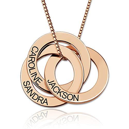 Hohan Personalisierte Namen Halskette Geburtstagsgeschenk für Mädchen Customized Name 3 Circles Pendant