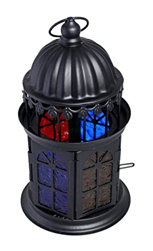 JustNile Retro Iron European Hanging Lantern Candle Holder with Mosaic Design Glass Panels, Black