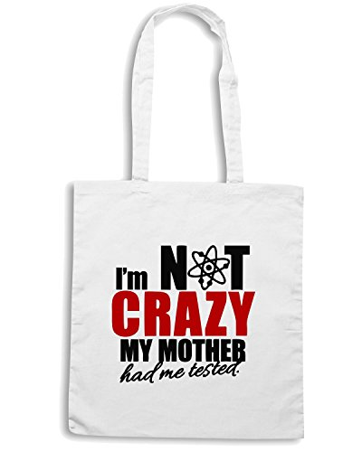 T-Shirtshock - Borsa Shopping OLDENG00128 im not crazy my mother had me tested Bianco