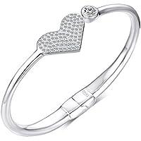 Vnox Charm Bracelet della ragazza delle donne 999 Sterling Silver Cubic Zirconia Cuore espandibile braccialetto per il regalo di
