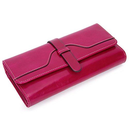 Frauen Große Damen Geldbörsen echtes Leder Luxus Reise Geldbeutel Wachs glatte Oberfläche Rfid Brieftaschen Portemonnaie Desigual Geldtasche - Rose rot