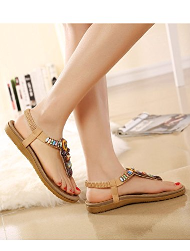 MatchLife Femmes Sandales Flip Flops Style2-Abricot