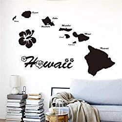 Hawaii-Inseln Haus Dekor Name Zitat Karte Abziehbilder im Wohnzimmer Schlafzimmer Wandtattoo Wohnzimmer Wandtattoo Schlafzimmer