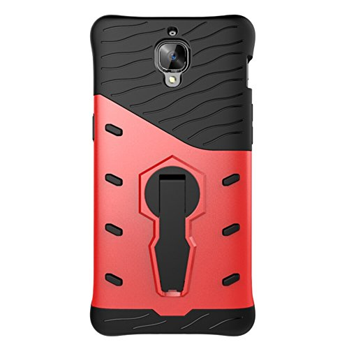 Für OnePlus 3T Armor Cover, 2 In 1 Durable TPU + PC Heavy Duty 360 ° Drehender Stand Dual Layer Shockproof Case Cover ( Color : Black ) Red