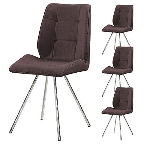 4er Set SVITA Esszimmer-Stuhl Stoffbezug Wohnzimmerstuhl Retro-Design gepolstert Farbwahl (braun)