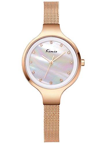Preisvergleich Produktbild Alienwork Quarz Armbanduhr Perlmutt Quarzuhr Uhr Armreif Kette wickeln elegant Metall weiss rose gold YH.K6225M-03