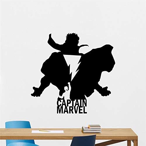 haochenli188 Aufkleber Captain Marvel Wandtattoo Silhouette Shazam Logo Superheld Comics Cartoon Poster Schablone Vinyl Aufkleber Teen A 58x61cm