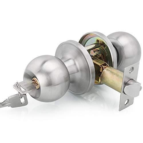 Qrity Türknauf mit Schloss/Schlüssel, Griff Keyed abschließbar Home Büro rund verriegelt Türknauf, Verriegelung 60/70mm