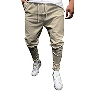 Yourgod Summer New Men's Tie Eight-Color Pants Casual Solid Color Eight-Color Pants Slim Fit Night Point Long Pants Khaki