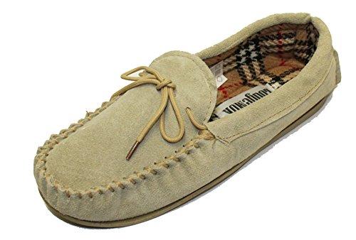LODGEMOK & daim pour femme Doublure à carreaux écossais traditionnel Chaussons mocassins chaussures 077 Beige - beige