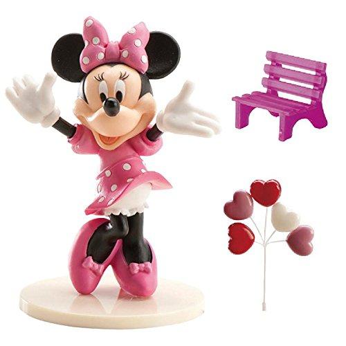 Estos accesorios para decorar tartas tienen licencia oficialMinnie.Son de plástico.Hay una figura deMinnie de 9 cm, un ramo de corazones y un banco rosa.Estos accesorios son perfectos para la decoración de tartas de cumpleañosMinnie.