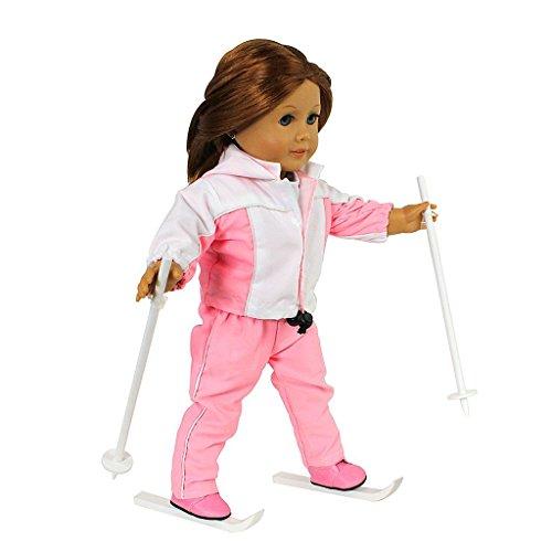 Dress Along Dolly Ropa de la muñeca del esquí para muñecas 18'' Listo para el esquí equipo (incluye camisa, pantalones, chaqueta, botas, bastones y esquís)