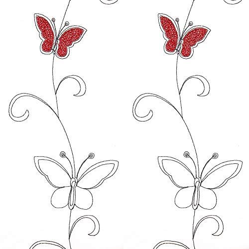 Top Finel ricamato farfalla Voile Tenda con occhielli pura Parete Porta Finestra Balcone,140 x 245 cm, 1 pezzo, Rosso