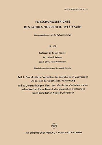 Teil I: Das Elastische Verhalten Der Metalle Beim Zugversuch Im Bereich Der Plastischen Verformung. Teil Ii: Untersuchungen Über Das Elastische . . . ... des Landes Nordrhein-Westfalen, Band 687)