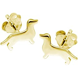 Perro salchicha Perro pendientes–plata de ley con chapado en oro