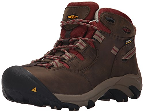 Keen Utility Womens Detroit Mid Steel Toe Work Boot Black Olive/Madder Brown