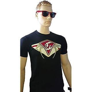 SRAZDA - Tee-Shirt Noir - Homme - Coupe Ajustée au Niveau du Buste - Manches Courtes - Modèle Dessin Devant et écriture Bas du Dos en pailleté et Velours