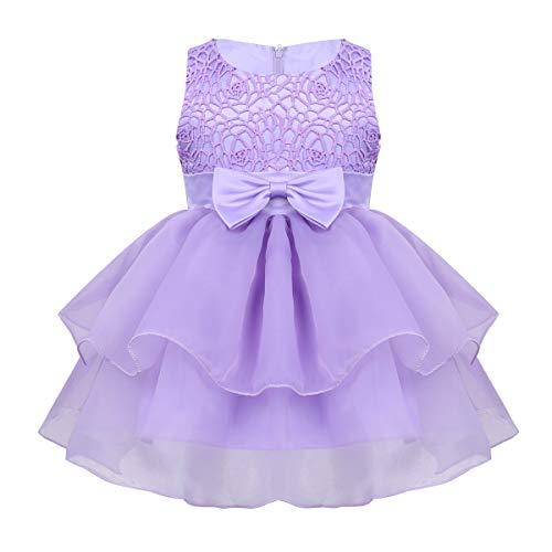 iixpin Baby-Mädchen Süß Partykleid Prinzessin Ärmellos Kleider Blumenmädchenkleid Taufkleid für Hochzeit Festzug Party Geburtstag Lavendel 80-86 -