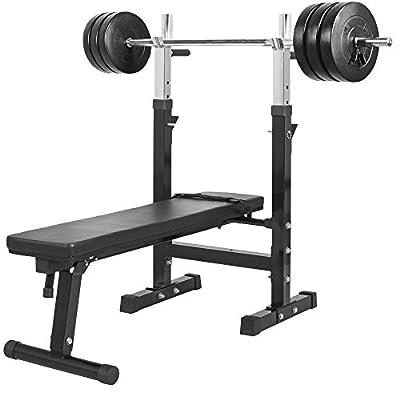 Gorilla Sports Weight Bench with 38KG Vinyl Weight Set by Gorilla Sports
