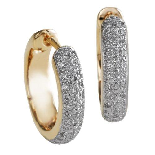 Bella Donna - Orecchini a cerchio da donna con diamante (0,4 ct), oro giallo 8k (333), cod. 107451