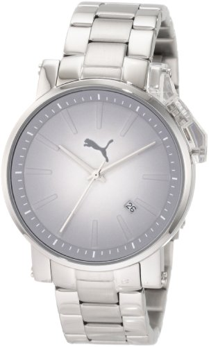 PUMA Women's PU102632004 Flag Small Three-Hand Date Silver Metal Watch