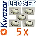 SUPER SET 5er: K-04 Einbaustrahler + SMD LED 15p! 35W! + GU10 Fassung 230V