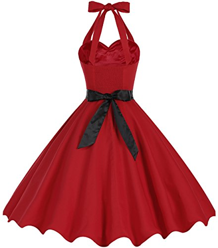Bbonlinedress 1950er Neckholder Vintage Retro Rockabilly Cocktail Party Kleider Red