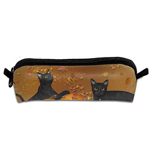 Pengyong Federmäppchen für Halloween, Schwarze Katze, mit Reißverschluss, kleine Kosmetiktasche, Make-up-Tasche, Münzbörse, für Kinder, Jugendliche und andere Schulutensilien