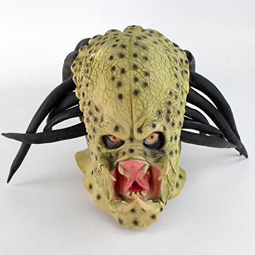 POIUYT Alien Vs. Iron Warrior Latex Kopfbedeckung Halloween Horror Maske Party Anzieh Ball Show Requisiten/Rollenspiel Party Weihnachtsgrün Show Requisiten Zubehör,Green