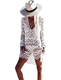 ZKOOO Mujeres Sexy Larga Mangas Hueco Borlas Vestido de Kaftan Playa V-Cuello Crochet Traje