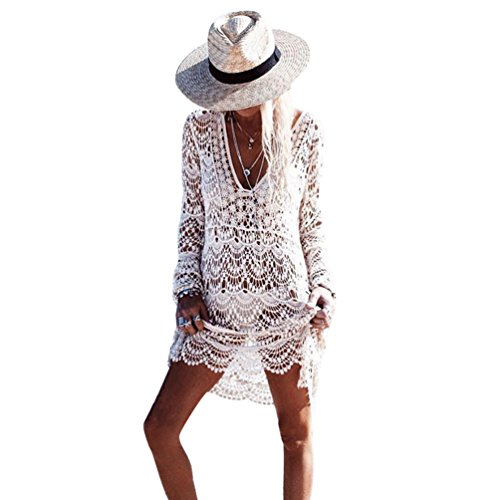 ZKOOO Femme Longue Manches Col V Robes De Plage Bikini Crochet Lâche Blouse Cover Up Maillot De Bain Sarong Pareo Chemisier Beachwear Swimsuit Cover-up Blanc