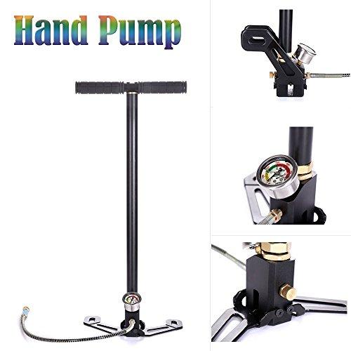 PCP Gun Hand Pumpe 3Stage Air Gewehr Steigbügel 4500psi Gas Filter Gauge Ventil Schlauch für Automarke/Motorrad/Fahrrad Reifen aufblasbar Kajaks (8 Ball 3 Ventil)