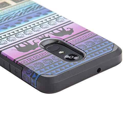 Elyn Hybrid-Schutzhülle für LG Stylo 4, 2-lagig, 2-in-1, Schlankes Design, stoßfest, 1 vollständige Abdeckung aus gehärtetem Glas, Elephant Tribe - Handys Att Unlocked